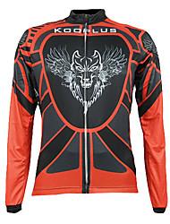 Kooplus Homme Manches longues Vélo Respirable Garder au chaud Séchage rapide Zip frontal Vestimentaire Maillot Hauts/Tops 100 % Polyester