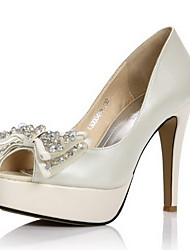 Elegant Leather Stiletto Heel Peep Toe/Pumps With Bowknot Wedding/Party Shoes