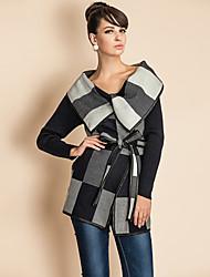 ts chèque motif large revers pu couture manteau de laine