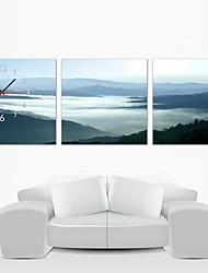 horloge murale de montagne de style moderne en toile 3pcs