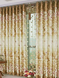 (Two Panels) Traditional Print Floral Energy Saving Curtain