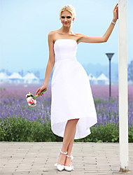 Lanting A-line/Princess Wedding Dress - Ivory Asymmetrical Strapless Taffeta
