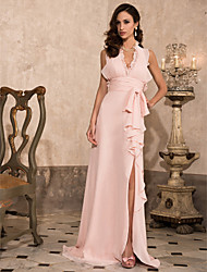 Prom / Formal Evening / Military Ball Dress - Open Back Plus Size / Petite Sheath / Column Halter / V-neck Sweep / Brush Train Chiffon