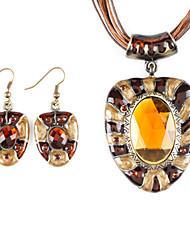 Corner Cut Oval Resin Metal Oil Drip  Earring Nacklace Suit