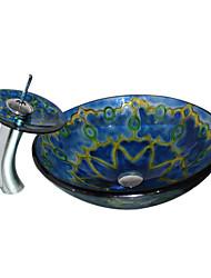 4245 trempé Évier rond en verre avec robinet cascade navire et anneau de montage et Pop-Up Drain