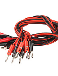 Banana Plug to Alligator Clip Probe Cable Test Lead (Red & Black, 100cm, 10 PCS)