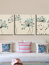 contemporanea botanico orologio da parete in tela 3pcs
