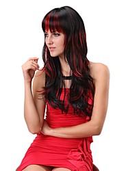 Capless Long Straight Black und roten Perücke