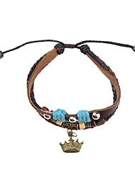 Z&x® кожаный браслет многослойные старинные браслет с короной