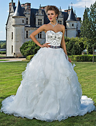Ball Gown Sweetheart Cathedral Train Organza Satin Wedding Dress with Beading Sash / Ribbon Pick-Up by LAN TING BRIDE®