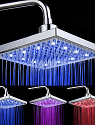 "Pommeau de Douche Carré 8"" 12 LED - Assortiment de Couleurs"