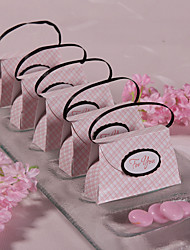12 Piece/Set Favor Holder - Creative Card Paper Favor Boxes Pink Plaid Purse