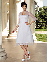 Lanting Bride® A-line / Princess Petite / Plus Sizes Wedding Dress - Chic & Modern / ReceptionWedding Dresses With Wrap / Little White