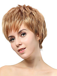 Capless Short Blonde Straight Synthetic Wigs