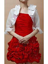 Short Sleeves Satin With Flowers Special Occasion Evening Jacket/ Wedding Wrap (More Colors) Bolero Shrug