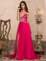 TS Couture Formal Evening Military Ball Dress - Open Back A-line Princess Strapless Sweetheart Court Train Chiffon withBeading Draping