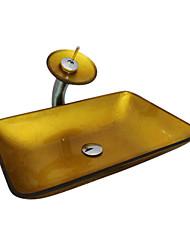 4253 vidro temperado Sink Praça navio com dreno Cachoeira torneira e Pop-Up e anel de montagem