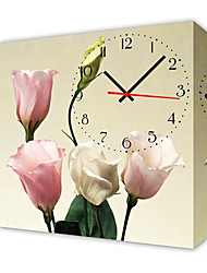 Modern Style Floral Wall Clock in Canvas