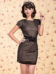 ts vintage schimmernden Polka Dot backless Kleid