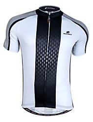 NUCKILY Cycling Tops / Jerseys Men's Bike Breathable / Quick Dry / Front Zipper / Wearable Short Sleeve 100% Polyester WhiteS / M / L /