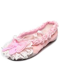 Обувь ручной работы Танцы Canvas сплит-единственный балет тапочки с розовым бантом для детей