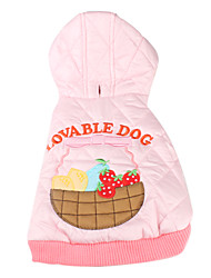 Dog Hoodie Pink Dog Clothes Winter Fruit