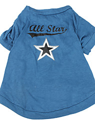 Dog Shirt / T-Shirt Blue Dog Clothes Spring/Fall Stars
