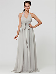 A-Line Princess Halter V-neck Floor Length Chiffon Bridesmaid Dress with Draping Sash / Ribbon Ruching by LAN TING BRIDE®