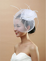 Fabulous Bridal Net With Feather Women's Birdcage Veils
