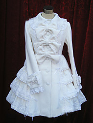 Long Sleeve Knee-length White Cotton Princess Lolita Dress with Bow