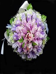 Elegant Satin/Cotton Round Shape Wedding Bouquet/Bridal Bouquet