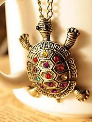 tortuga diamante precioso collar de la vendimia de la mujer
