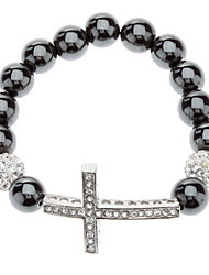 Cross Hematite Diamond Ball Bracelet