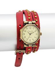 Women's PU Quartz Movement Glass Round Shape Dress Watch