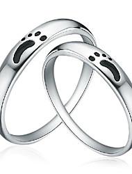Casa de la plata esterlina 925 con los anillos Pareja Huella de