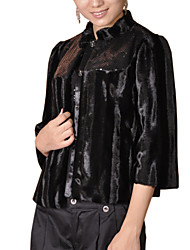 3/4 Sleeve Standing Collar Faux Fur Party/Office Jacket