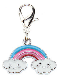 Cat / Dog Tag Rainbow Silver Metal