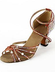 Women's Satin / Rhinestone Upper Ankle Strap Latin / Salsa Dance Shoes With Pearl