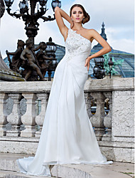 Lan Ting Sheath/Column Plus Sizes Wedding Dress - Ivory Sweep/Brush Train One Shoulder Chiffon