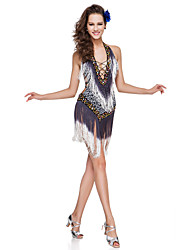 Dancewear Polyester With Tassels/Sequins Performance Latin Dress Built In Bra For Ladies More Colors