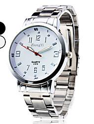 simples relógio de prata com ligação liga de pulso de quartzo dos homens (cores sortidas)
