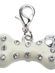 Cat Dog Tag Rhinestone Bone White Alloy