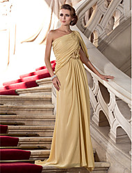 TS Couture® Formal Evening / Military Ball Dress - Elegant Plus Size / Petite Sheath / Column One Shoulder Sweep / Brush Train Chiffon with Beading