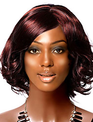 Short Curly Black With Red Wine Hair Wig
