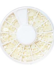 White Plastic Twinkle Runde Perle Nail Art Dekorationen