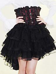 Hasta la rodilla Negro y rojo y falda de algodón blanco Gothic Lolita
