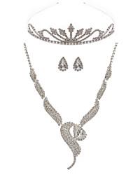 Elegant Alloy Rhinestone Women's Jewelry Set Including Necklace,Earrings,Tiara