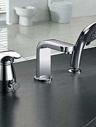 Bathtub Faucet - Contemporary - Handshower Included / Sidespray - Brass (Chrome)