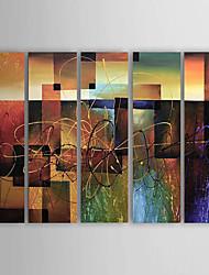 Pintados à mão Abstrato Horizontal,Clássico Moderno 5 Painéis Tela Pintura a Óleo For Decoração para casa