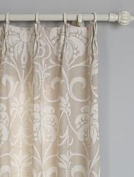 (Two Panels) Floral Linen/Cotton Jacquard Eco-friendly Curtain
